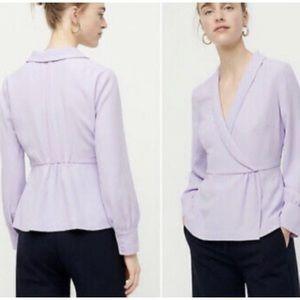 J. Crew Lavender Drapey Faux Wrap Top Size 8 NWT